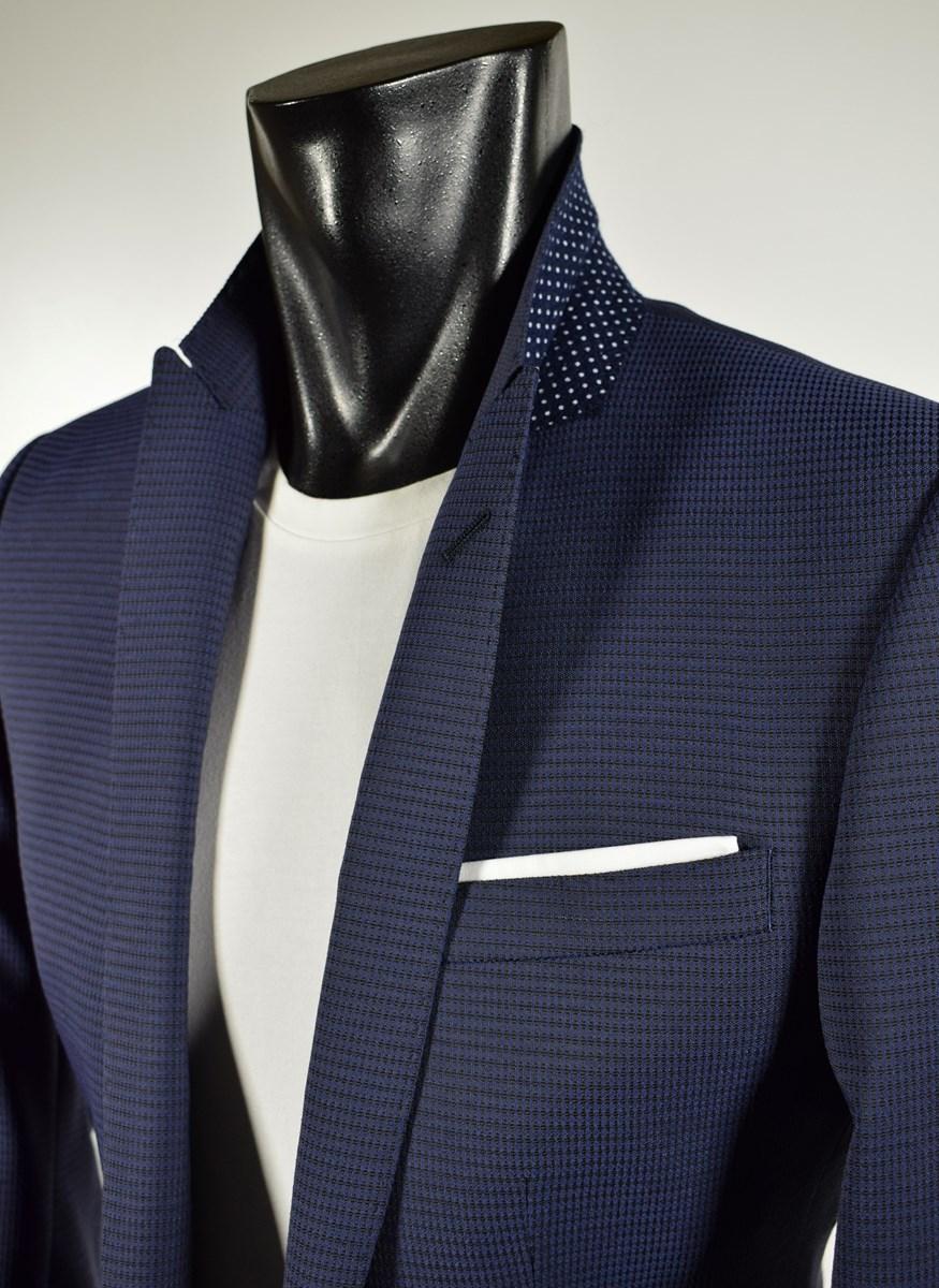 b6edce1c0e Dettagli su Abito Moda Digel Blu misto Lana Stretch micro struttura con  doppia pattina